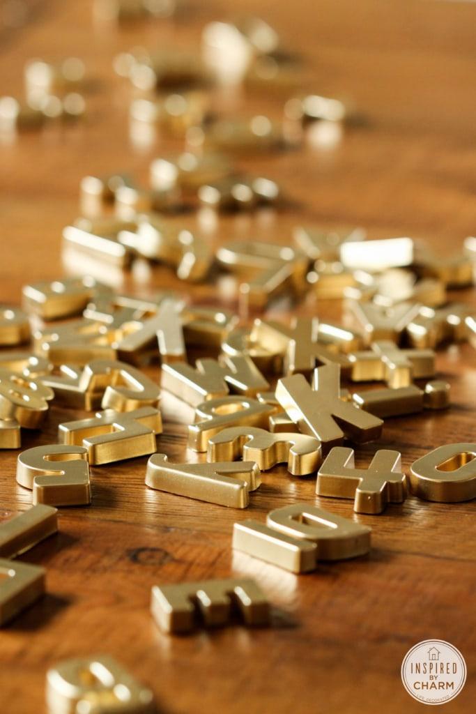 Or Magnet Lettres de bricolage | Inspiré par le charme