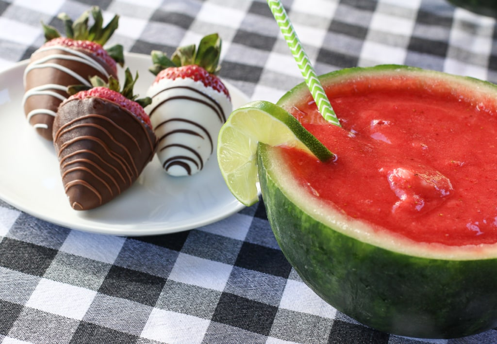 Shari's Berries Dipped Strawberries with Strawberry Watermelon Margaritas | Inspired by Charm