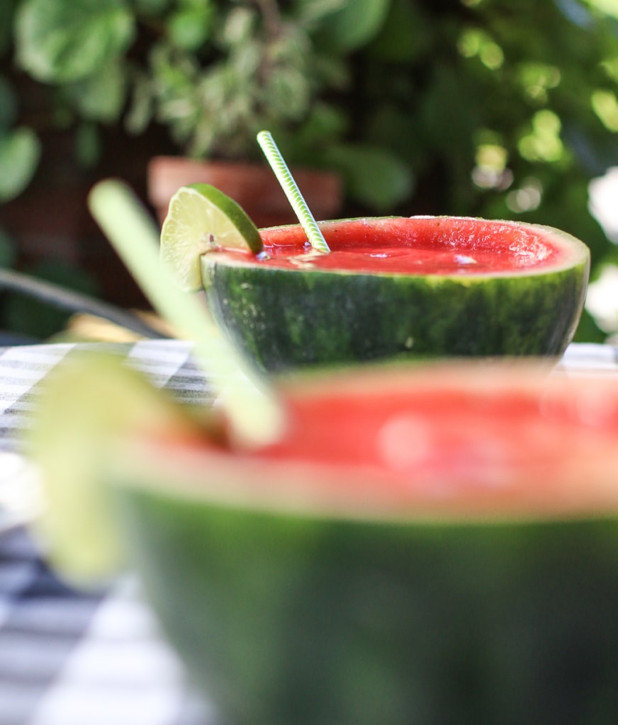 Mini Watermelon Strawberry Margaritas with Straws | Inspired by Charm