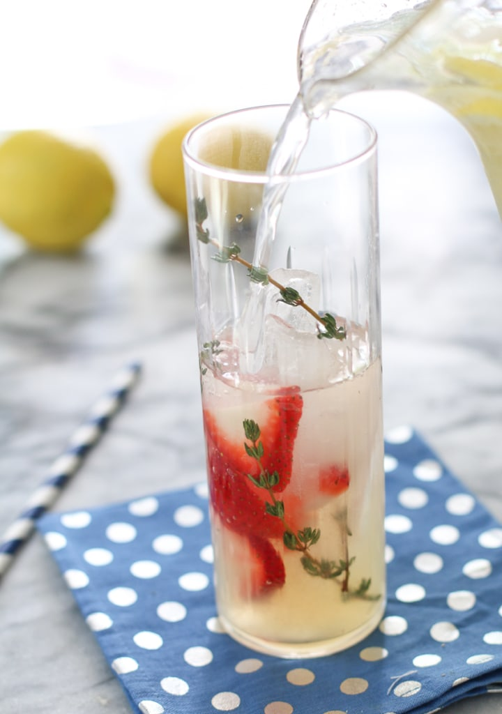 Lemonade with strawberry and thyme