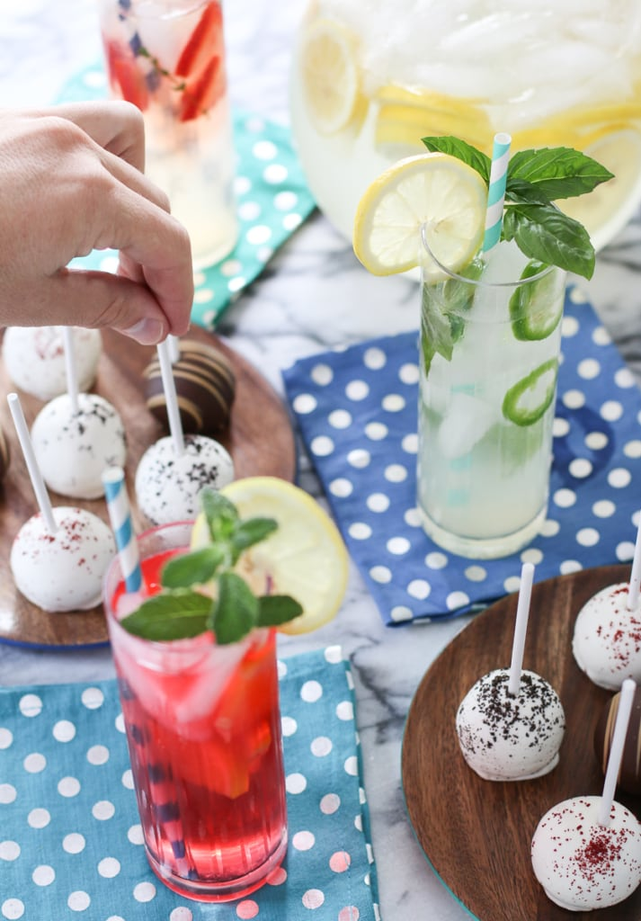 Summer tablescape with lemonade and cake pop desserts